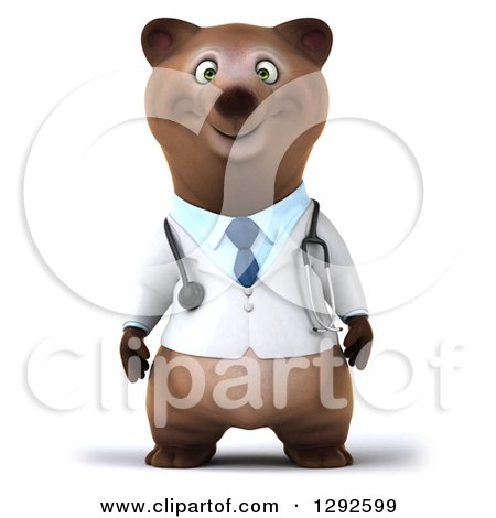 Clipart of a 3d Happy Brown Bear Doctor or Veterinarian - Royalty Free Illustration by Julos