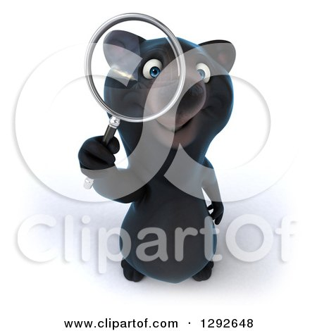 Clipart of a 3d Happy Black Bear Looking up Through a Magnifying Glass - Royalty Free Illustration by Julos