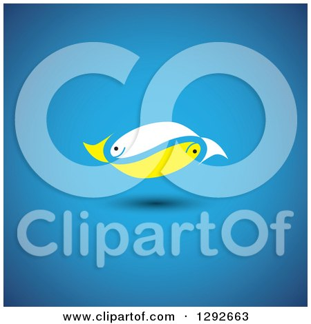 Clipart of a Pair of White and Yellow Fish Floating over Blue - Royalty Free Vector Illustration by ColorMagic