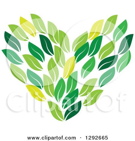 Clipart of a Love Heart Made of Green Leaves - Royalty Free Vector Illustration by ColorMagic