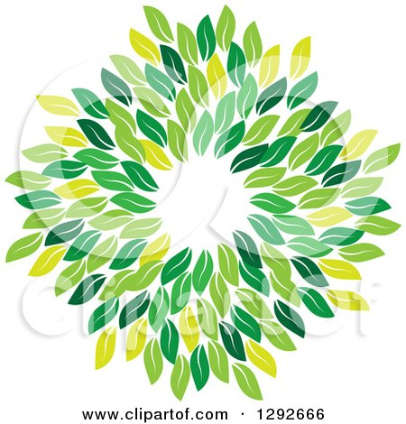 Clipart of a Circle Wreath Made of Green Leaves - Royalty Free Vector Illustration by ColorMagic