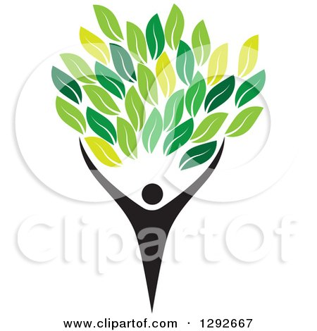 Clipart of a Silhouetted Black Person Forming the Trunk of a Tree with Green Leaves - Royalty Free Vector Illustration by ColorMagic