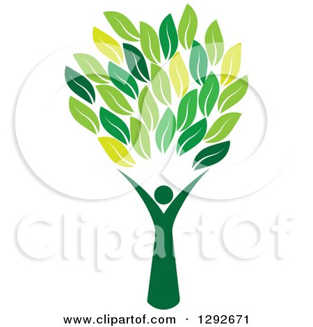 Clipart of a Person Forming the Trunk of a Tree with Green Leaves - Royalty Free Vector Illustration by ColorMagic