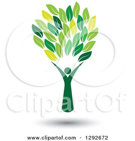 Clipart of a Floating Person Forming the Trunk of a Tree with Green Leaves - Royalty Free Vector Illustration by ColorMagic