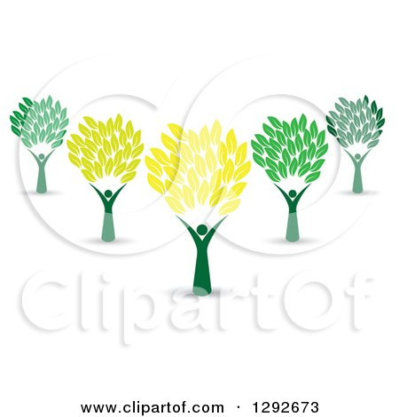 Clipart of a Group of Cheering People Forming Trunks of Trees with Yellow and Green Leaves - Royalty Free Vector Illustration by ColorMagic