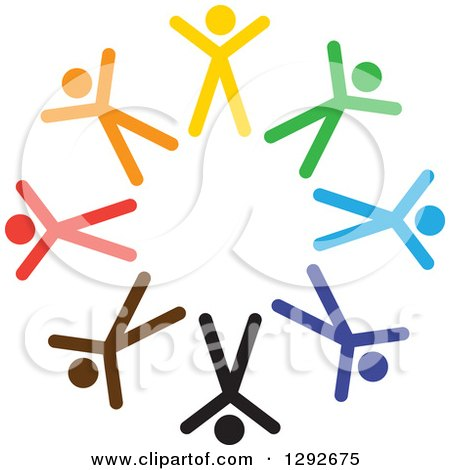 Clipart of a Team Circle of Colorful Cheering Stick People - Royalty Free Vector Illustration by ColorMagic