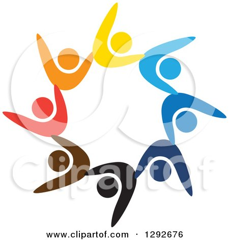 Clipart of a Team of Colorful Cheering People Forming a Circle - Royalty Free Vector Illustration by ColorMagic