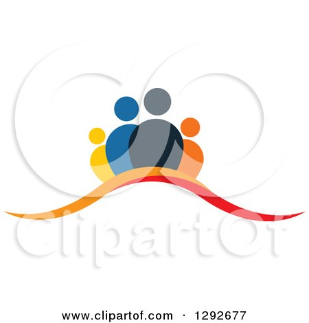 Clipart of a Team of People over Orange and Red Swooshes - Royalty Free Vector Illustration by ColorMagic