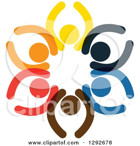 Clipart of a Circle of Colorful Cheering People with Their Arms up - Royalty Free Vector Illustration by ColorMagic