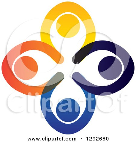 Clipart of a Team Circle of Colorful People Praying with Their Hands All in - Royalty Free Vector Illustration by ColorMagic