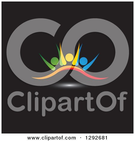 Clipart of a Team of Colorful Cheering People over a Swoosh and Light on Black - Royalty Free Vector Illustration by ColorMagic