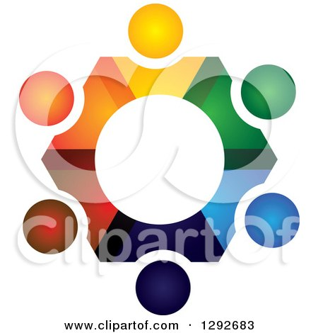 Clipart of a Team Circle of Abstract Colorful People Forming a Gear - Royalty Free Vector Illustration by ColorMagic