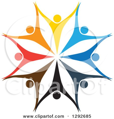 Clipart of a Team Circle of Colorful Cheering People Holding Hands and Forming a Flower or Snowflake - Royalty Free Vector Illustration by ColorMagic