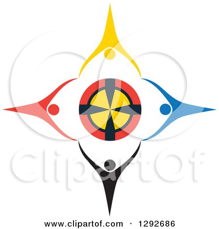 Clipart of a Team of Colorful Cheering People Holding Hands Around a Target - Royalty Free Vector Illustration by ColorMagic