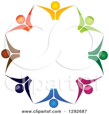 Clipart of a Team Circle of Colorful Cheering People from the Chest Up, Holding Hands - Royalty Free Vector Illustration by ColorMagic
