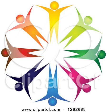 Clipart of a Team Circle of Colorful Cheering People - Royalty Free Vector Illustration by ColorMagic
