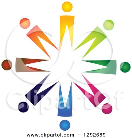 Clipart of a Team Circle of Abstract Colorful People - Royalty Free Vector Illustration by ColorMagic