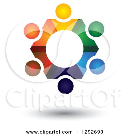 Clipart of a Team Circle of Abstract Floating Colorful People Forming a Gear - Royalty Free Vector Illustration by ColorMagic