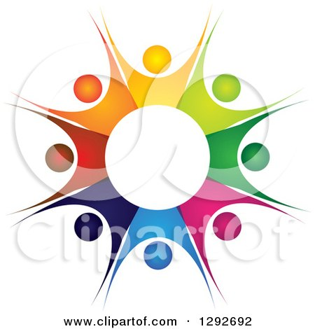 Clipart of a Team Circle of Colorful Cheering People Forming a Burst - Royalty Free Vector Illustration by ColorMagic