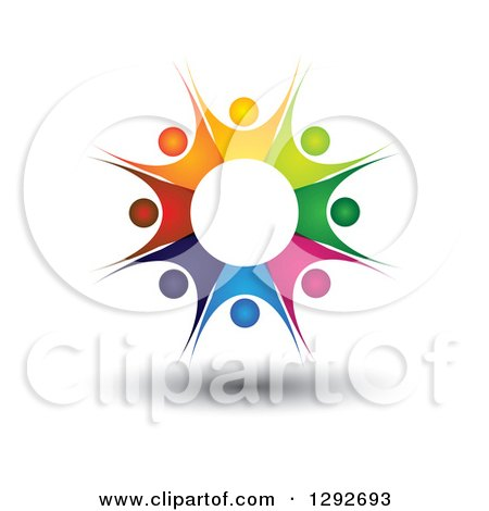 Clipart of a Team Circle of Colorful Floating Cheering People Forming a Burst - Royalty Free Vector Illustration by ColorMagic