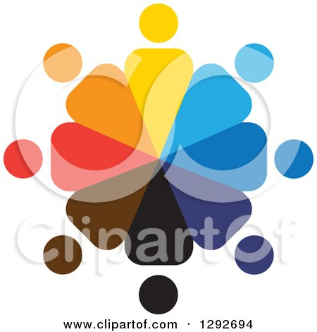 Clipart of a Team Circle of Colorful People, Employees or a Support Group - Royalty Free Vector Illustration by ColorMagic