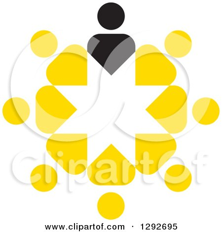 Clipart of a Circle of Yellow People and a Black Leader - Royalty Free Vector Illustration by ColorMagic