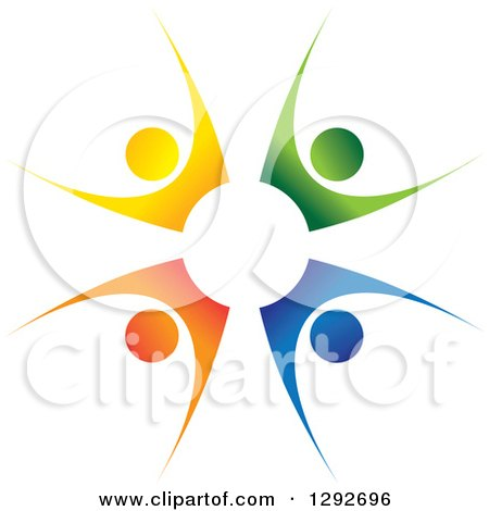 Clipart of a Team Circle of Four Colorful Cheering People - Royalty Free Vector Illustration by ColorMagic