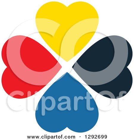Clipart of a Circle of Diverse Colorful Hearts - Royalty Free Vector Illustration by ColorMagic