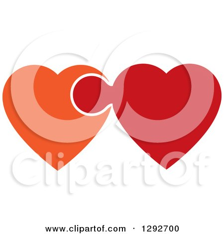 Clipart of Orange and Red Hearts Connected and Linked like a Puzzle Piece - Royalty Free Vector Illustration by ColorMagic