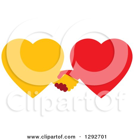 Clipart of Yellow and Red Hearts Shaking Hands - Royalty Free Vector Illustration by ColorMagic