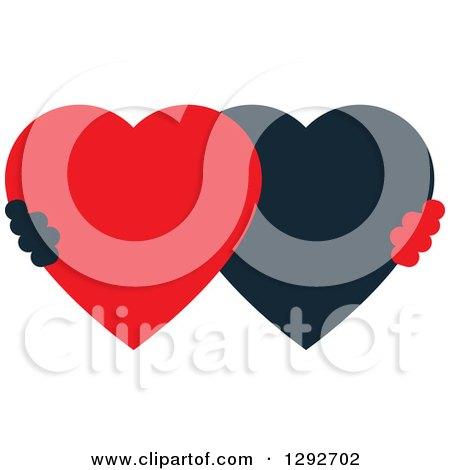 Clipart of a Black and Red Heart Shaped Couple - Royalty Free Vector Illustration by ColorMagic