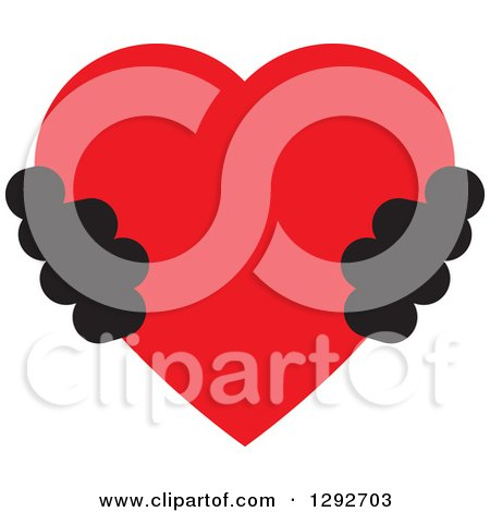 Clipart of a Pair of Black Hands Holding a Red Heart - Royalty Free Vector Illustration by ColorMagic