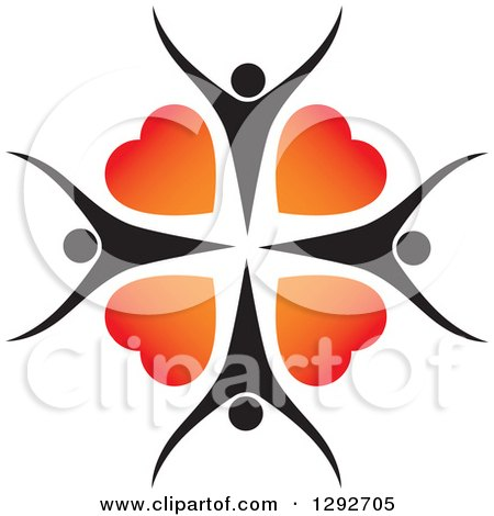 Clipart of a Circle of Cheering Black People and Gradient Red and Orange Love Hearts - Royalty Free Vector Illustration by ColorMagic