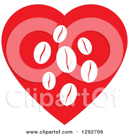 Clipart of a Red Heart with White Coffee Beans Inside - Royalty Free Vector Illustration by ColorMagic