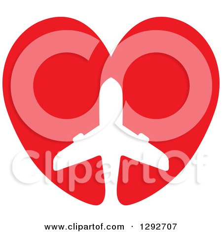 Clipart of a White Silhouetted Commercial Airplane in a Red Heart - Royalty Free Vector Illustration by ColorMagic