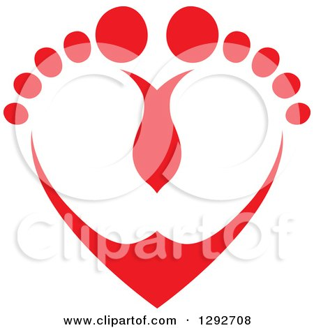 Red Baby Toes and Feet Forming a Heart Posters, Art Prints