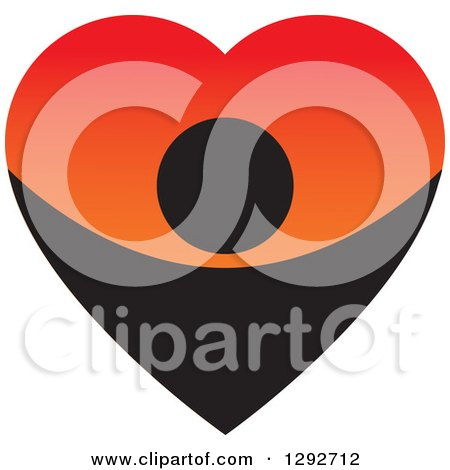 Clipart of a Black Person Forming the Bottom Half of a Big Gradient Red and Orange Love Heart - Royalty Free Vector Illustration by ColorMagic