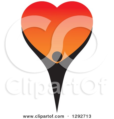 Clipart of a Black Person Holding up a Big Gradient Red and Orange Love Heart - Royalty Free Vector Illustration by ColorMagic