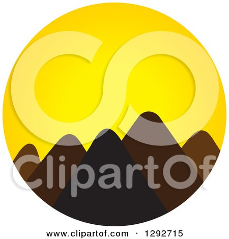 Clipart of a Landscape of Silhouetted Mountain Peaks Against a Yellow Sunset - Royalty Free Vector Illustration by ColorMagic
