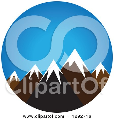 Clipart of a Landscape Scene of Snow Capped Mountain Peaks Against Blue Sky - Royalty Free Vector Illustration by ColorMagic