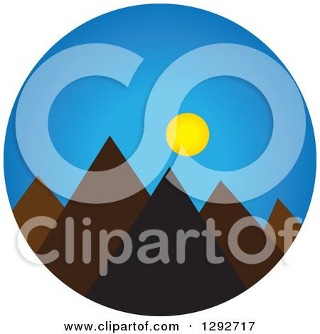Clipart of a Landscape Scene of Mountain Peaks with Blue Sky and the Sun - Royalty Free Vector Illustration by ColorMagic