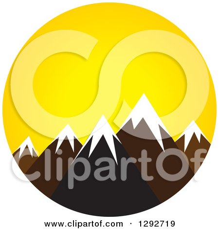 Clipart of a Landscape Scene of Snow Capped Mountain Peaks at Sunrise or Sunset - Royalty Free Vector Illustration by ColorMagic