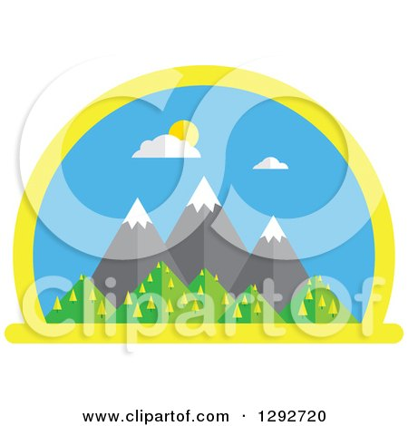 Clipart of a Flat Styled Arched Scene of Snow Capped Mountains and Hills on a Sunny Spring Day - Royalty Free Vector Illustration by ColorMagic