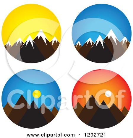Clipart of Landscape Scenes of Mountain Peaks with Snow Caps, Sunrise and Sunset - Royalty Free Vector Illustration by ColorMagic