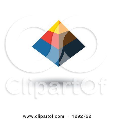 Clipart of a Floating Yellow Red and Blue 3d Pyramid - Royalty Free Vector Illustration by ColorMagic