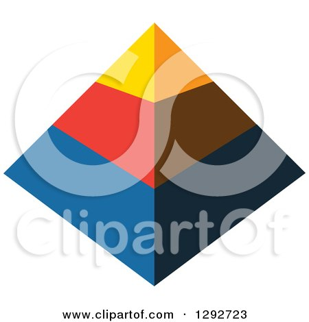 Clipart of a Yellow Red and Blue 3d Pyramid - Royalty Free Vector Illustration by ColorMagic