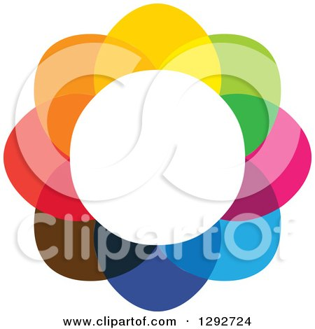 Clipart of a Flower Design of Colorful Overlapping Petals and a White Center - Royalty Free Vector Illustration by ColorMagic