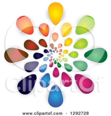 Clipart of a Spiral of Colorful Flower Petals or Droplets and Shadows - Royalty Free Vector Illustration by ColorMagic