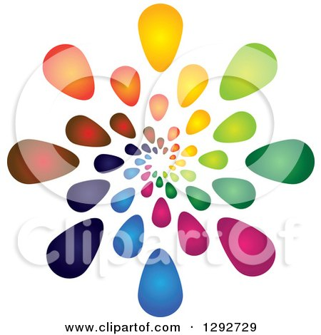 Clipart of a Spiral of Colorful Gradient Flower Petals or Droplets - Royalty Free Vector Illustration by ColorMagic