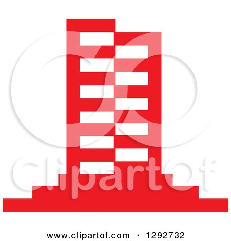 Clipart of a Red Urban Commercial Skyscraper Building - Royalty Free Vector Illustration by ColorMagic